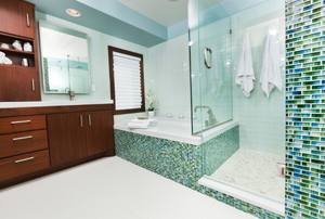 An updated bathroom.