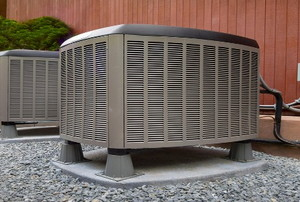 a heat pump outside a building