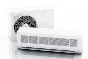 The two different pieces that make up a split air conditioner.