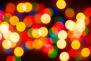 Blurred-out LED Christmas lights.