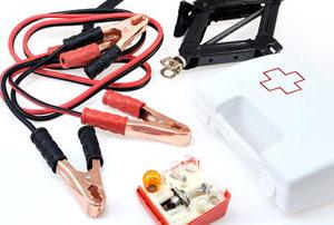 Emergency kit for car - isolated on white background