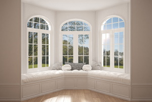 large bay window with white seating cushions