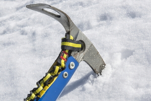 ice axe in the snow