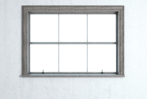 dark grey window trim around a window