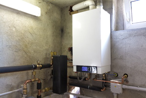 Furnace system in a basement or garage