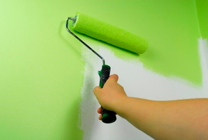 Painting a wall bright green