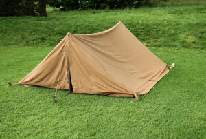 A canvas campting tent.