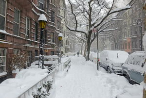 A city street covered in snow.