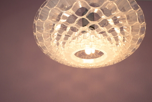 A pendant light in a ceiling.