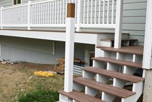 A wood porch railing.