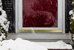 storm door on a front door surrounded by snow