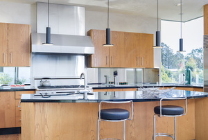 Kitchen with an exhaust fan.