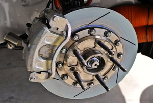 The brake system on a Jeep.