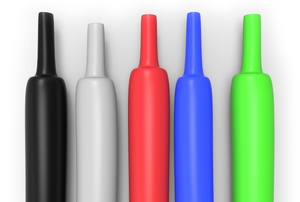 parallel heat shrink tubes in five different colors