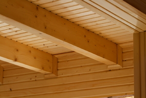 Wooden ceiling beams.