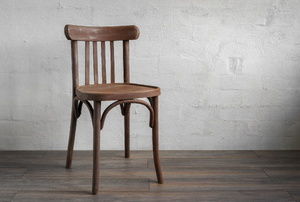 A wood chair.