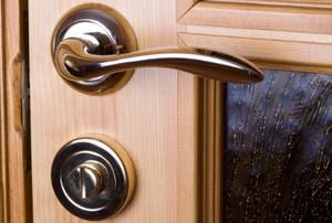 a closed, locked wooden door