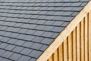 Shingles on a small shed roof.