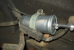 The fuel filter in a Jeep Grand Cherokee.