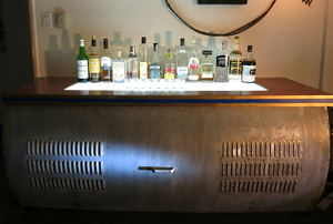 An upcycled, light-up bar.