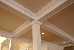 multiple pieces of Crown Molding on a ceiling