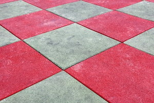 red and gray rubber tiles
