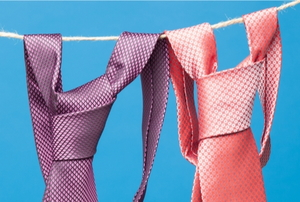 ties hanging on a clothesline