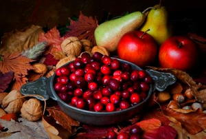 A bowl of cranberries surrounded by leaves and fall fruit.