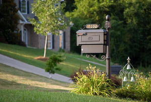 A mailbox surrounded by plants.