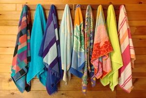 towel rack in nautical bathroom