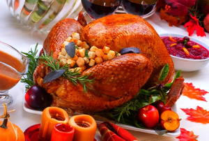 A Thanksgiving turkey full of stuffing.