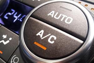 the controls for a car AC system