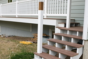 A white and brown deck.