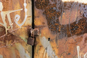 Rusty metal doors.