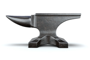 An anvil on a white background.