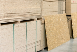 Stacks of plywood