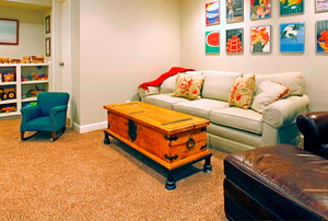 Carpet in a basement.