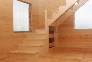 Stairs with a landing.