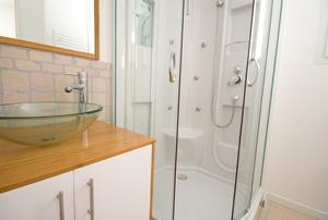 A fiberglass shower.