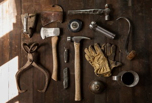 Assorted tool laid out
