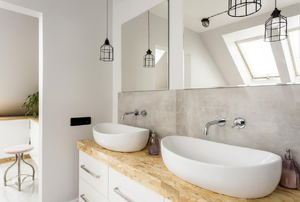 Modern bathroom with white vessel sinks