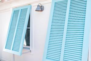 blue hurricane shutters