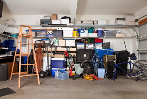 An organized garage with boxes and items.