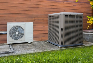 A heat pump outdoor.