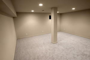 A carpeted room.