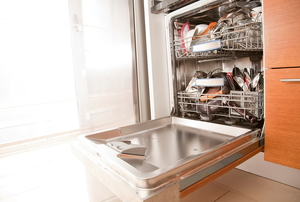 An open dishwasher.