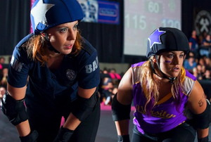 Roller Derby jammers ready on the jammer line (photo by Jess Reynolds).