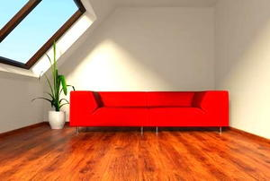 A large skylight shedding light on a potted plant and a red couch in a finished attic.