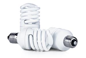 A grouping of CFL light bulbs.