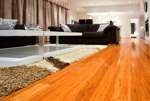 A beautiful stained and finished living room, bamboo wood floor.